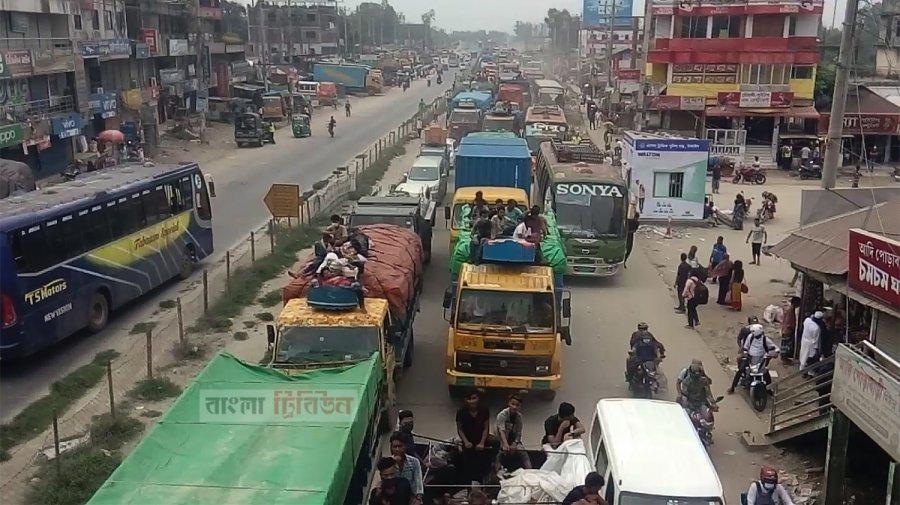 ঢাকা-টাঙ্গাইল মহাসড়কের ১৭ কিলোমিটারে ধীরগতি